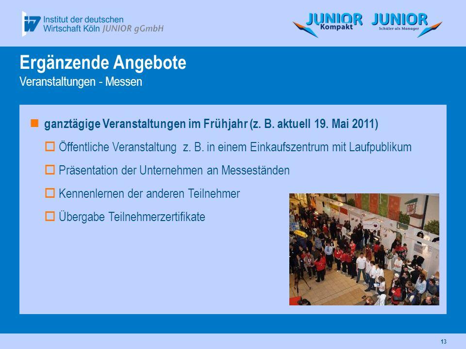 13 ganztägige Veranstaltungen im Frühjahr (z. B. aktuell 19. Mai 2011) Öffentliche Veranstaltung z. B. in einem Einkaufszentrum mit Laufpublikum Präse