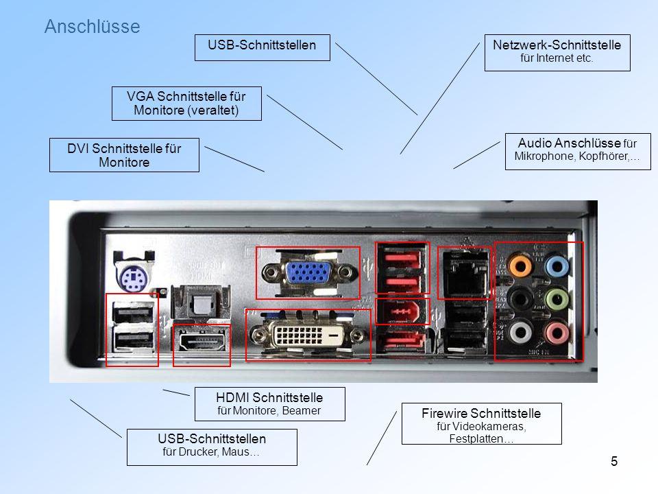 5 Anschlüsse USB-Schnittstellen für Drucker, Maus… HDMI Schnittstelle für Monitore, Beamer DVI Schnittstelle für Monitore VGA Schnittstelle für Monito