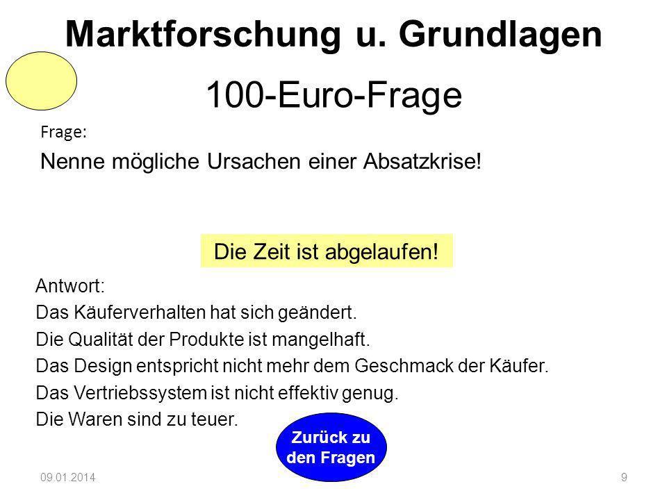 09.01.20148 Zurück zu den Fragen 2 Min Preis- und Konditionenpolitik 400-Euro-Frage Frage: a) Gib drei mögliche innerbetriebliche Preisstrategien an!