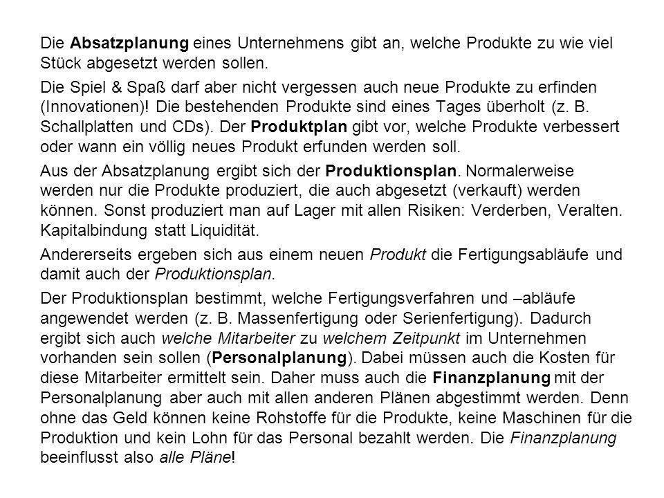 Die Absatzplanung eines Unternehmens gibt an, welche Produkte zu wie viel Stück abgesetzt werden sollen. Die Spiel & Spaß darf aber nicht vergessen au