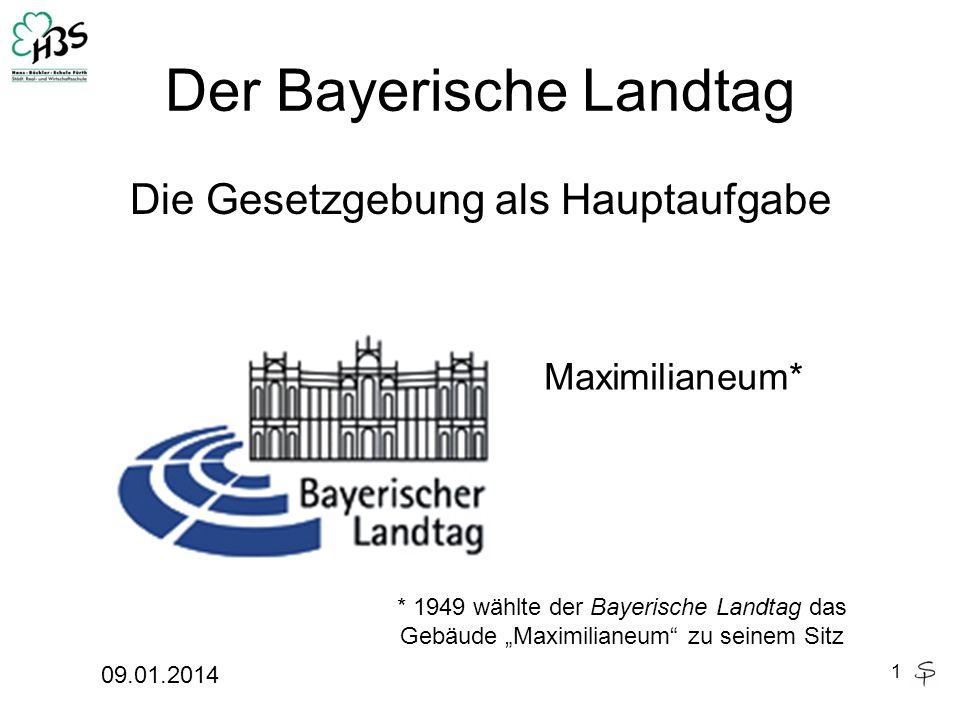 Der Bayerische Landtag Die Gesetzgebung als Hauptaufgabe 09.01.2014 1 Maximilianeum* * 1949 wählte der Bayerische Landtag das Gebäude Maximilianeum zu