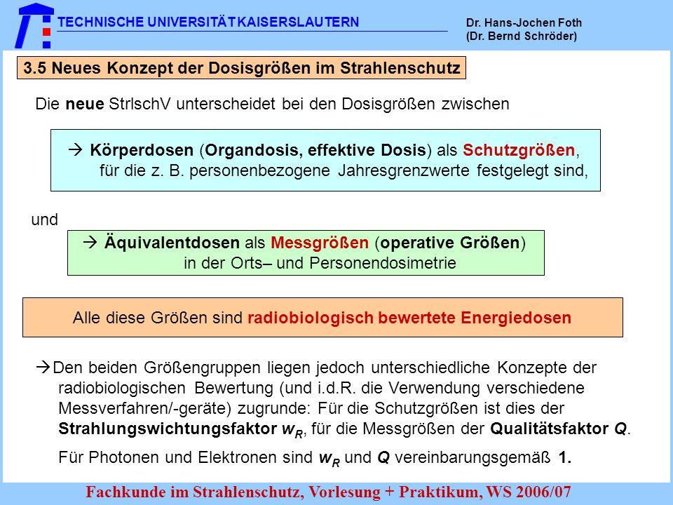 TECHNISCHE UNIVERSITÄT KAISERSLAUTERN Dr. Hans-Jochen Foth (Dr. Bernd Schröder) Fachkunde im Strahlenschutz, Vorlesung + Praktikum, WS 2006/07 3.5 Neu