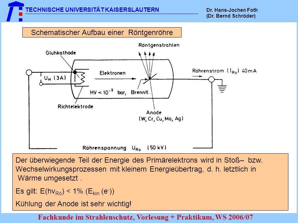 TECHNISCHE UNIVERSITÄT KAISERSLAUTERN Dr. Hans-Jochen Foth (Dr. Bernd Schröder) Fachkunde im Strahlenschutz, Vorlesung + Praktikum, WS 2006/07 Schemat