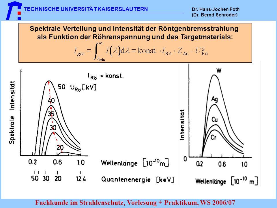 TECHNISCHE UNIVERSITÄT KAISERSLAUTERN Dr. Hans-Jochen Foth (Dr. Bernd Schröder) Fachkunde im Strahlenschutz, Vorlesung + Praktikum, WS 2006/07 Spektra