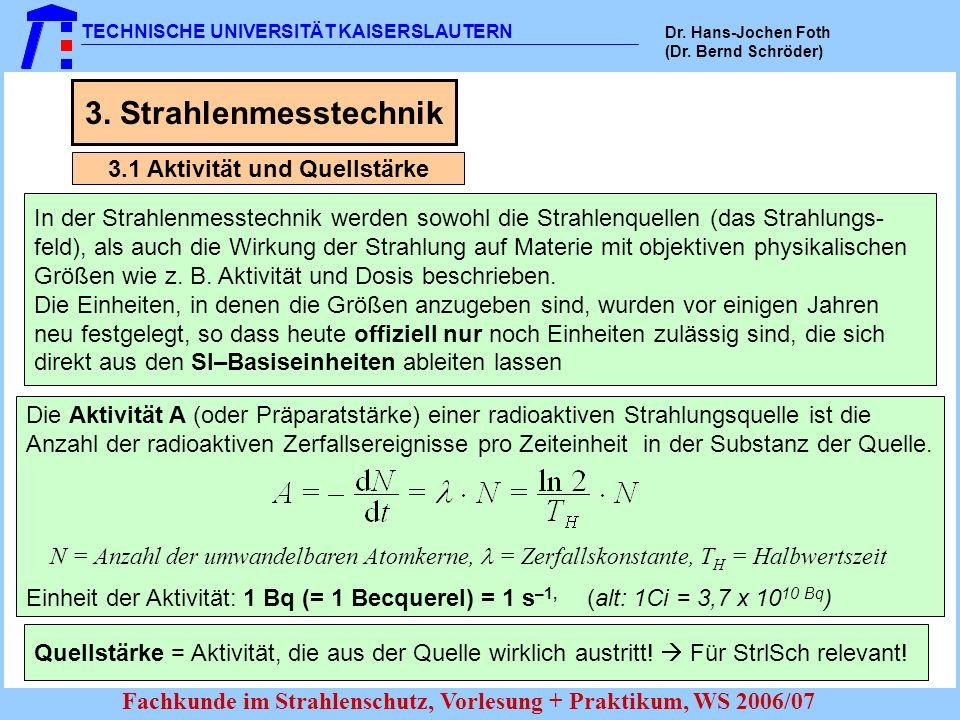 TECHNISCHE UNIVERSITÄT KAISERSLAUTERN Dr. Hans-Jochen Foth (Dr. Bernd Schröder) Fachkunde im Strahlenschutz, Vorlesung + Praktikum, WS 2006/07 3. Stra