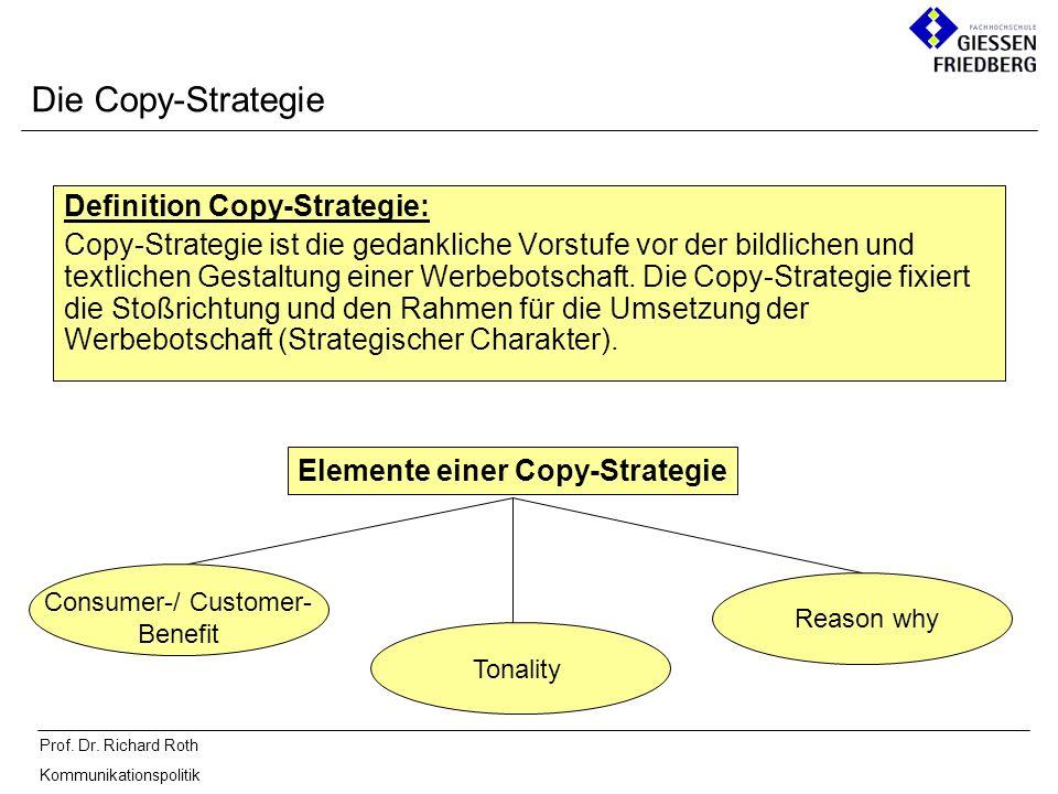 Prof. Dr. Richard Roth Kommunikationspolitik Definition Copy-Strategie: Copy-Strategie ist die gedankliche Vorstufe vor der bildlichen und textlichen