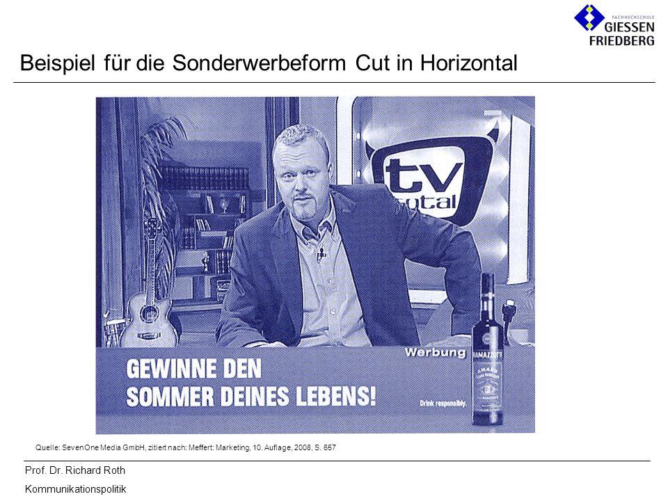 Prof. Dr. Richard Roth Kommunikationspolitik Beispiel für die Sonderwerbeform Cut in Horizontal Quelle: SevenOne Media GmbH, zitiert nach: Meffert: Ma