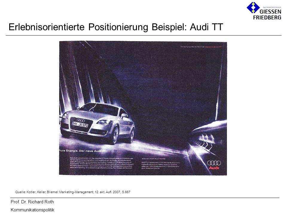 Prof. Dr. Richard Roth Kommunikationspolitik Erlebnisorientierte Positionierung Beispiel: Audi TT Quelle: Kotler, Keller, Bliemel: Marketing-Managemen