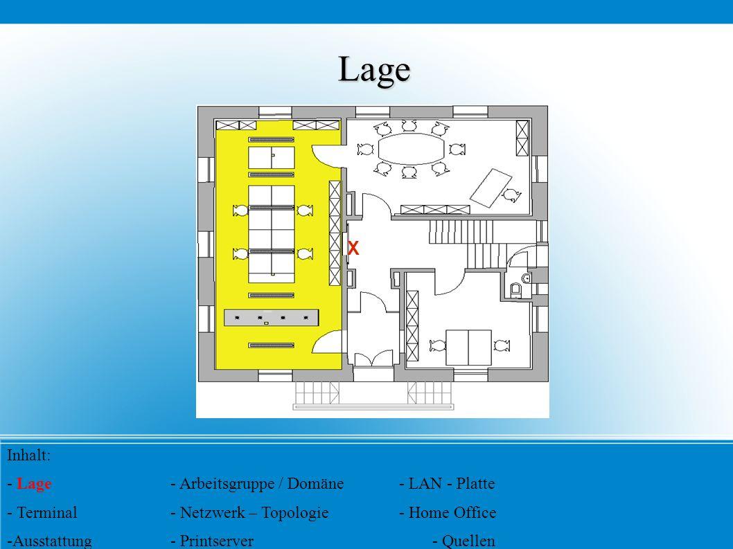 Lage X Inhalt: - Lage- Arbeitsgruppe / Domäne- LAN - Platte - Terminal- Netzwerk – Topologie- Home Office - Ausstattung- Printserver- Quellen