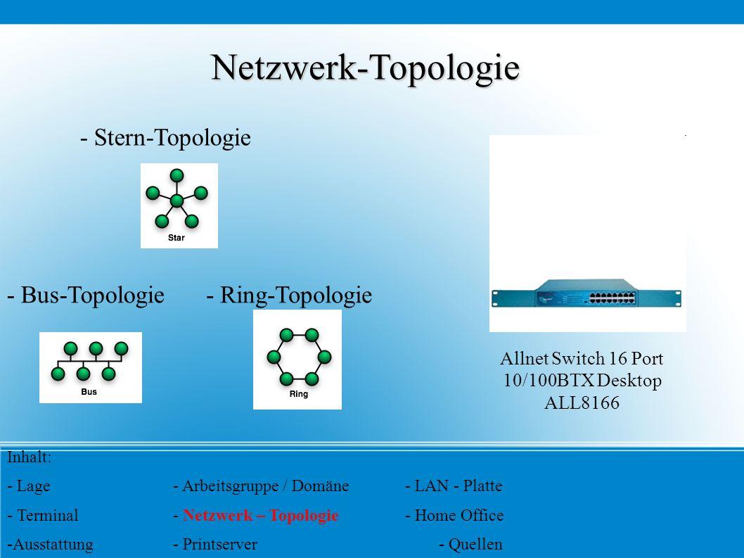 Netzwerk-Topologie - Stern-Topologie - Bus-Topologie- Ring-Topologie Inhalt: - Lage- Arbeitsgruppe / Domäne- LAN - Platte - Terminal- Netzwerk – Topol