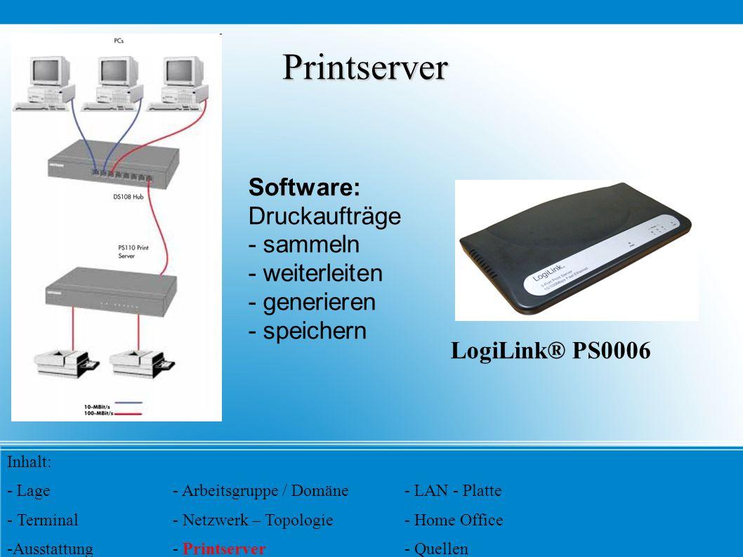 Printserver LogiLink® PS0006 Software: Druckaufträge - sammeln - weiterleiten - generieren - speichern Inhalt: - Lage- Arbeitsgruppe / Domäne- LAN - P