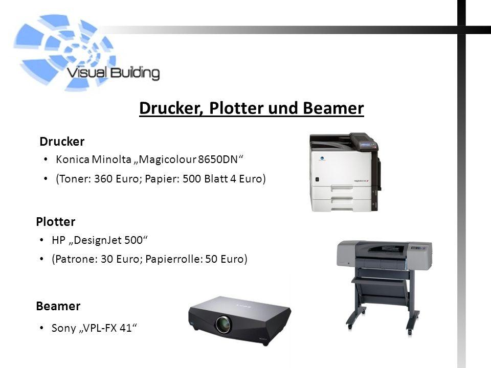 Drucker, Plotter und Beamer Konica Minolta Magicolour 8650DN (Toner: 360 Euro; Papier: 500 Blatt 4 Euro) Drucker HP DesignJet 500 (Patrone: 30 Euro; P