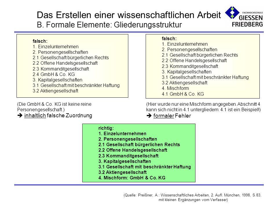 B.Formale Elemente: Thema und Titelblattgestaltung Titel bzw.