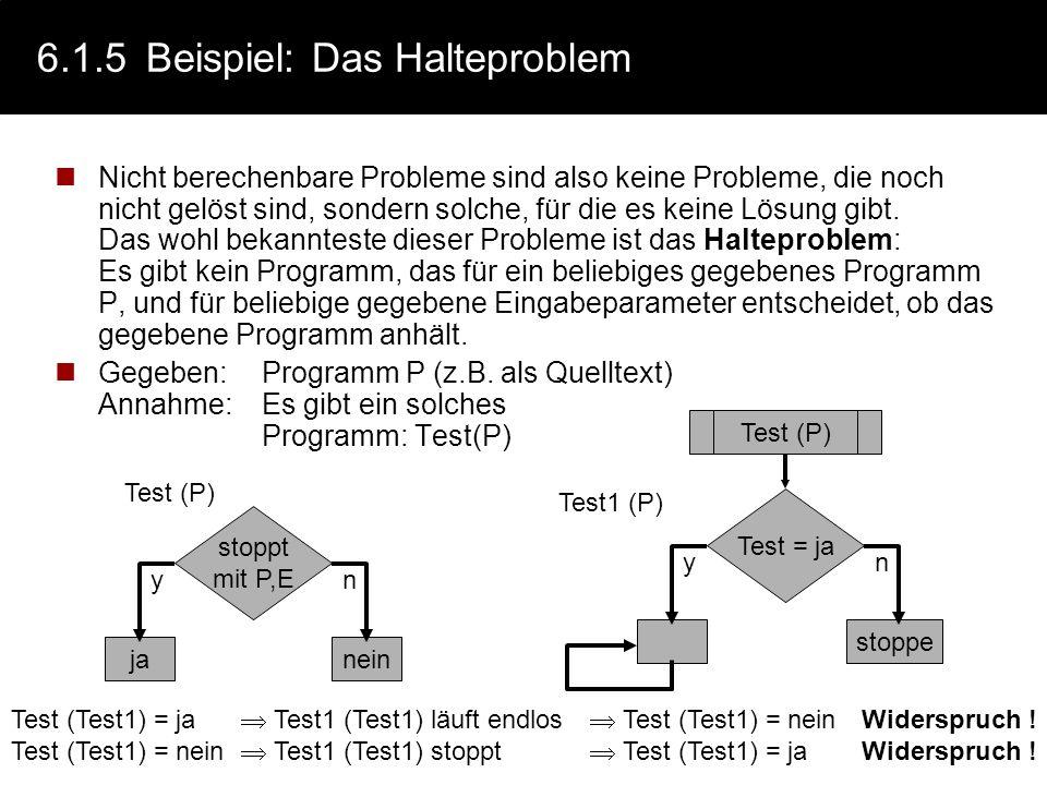 6.1.4Definition: Berechenbarkeit Ein Problem ist genau dann algorithmisch lösbar, wenn es durch eine Turing-Maschine darstellbar ist. Eine Funktion f(