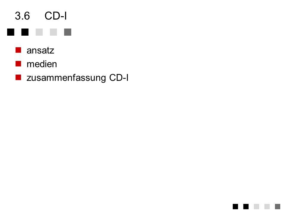 3.5.4zusammenfassung CD-ROM/XA Gleichzeitige Wiedergabe verschiedener Medien möglich Nutzt Mode-2 der CD-ROM Spezifikation für Erweiterungen form 1: s
