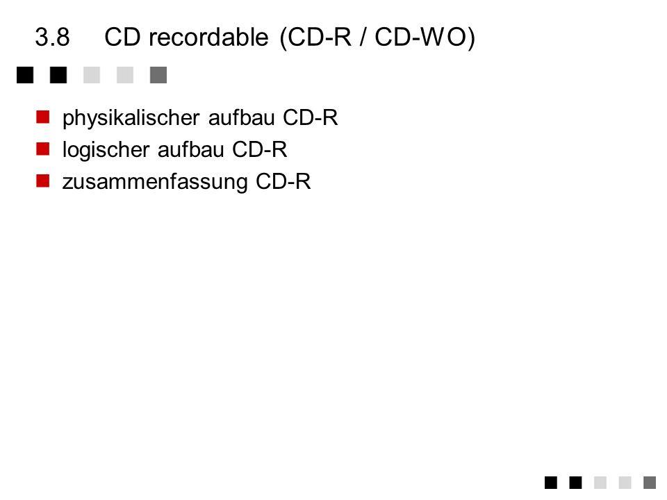 3.7.5zusammenfassung weitere formate CD-I ready format versucht, wahrscheinlich aus Marketing-Gründen, die Abwärtskompatibilität zu CD-DA herzustellen