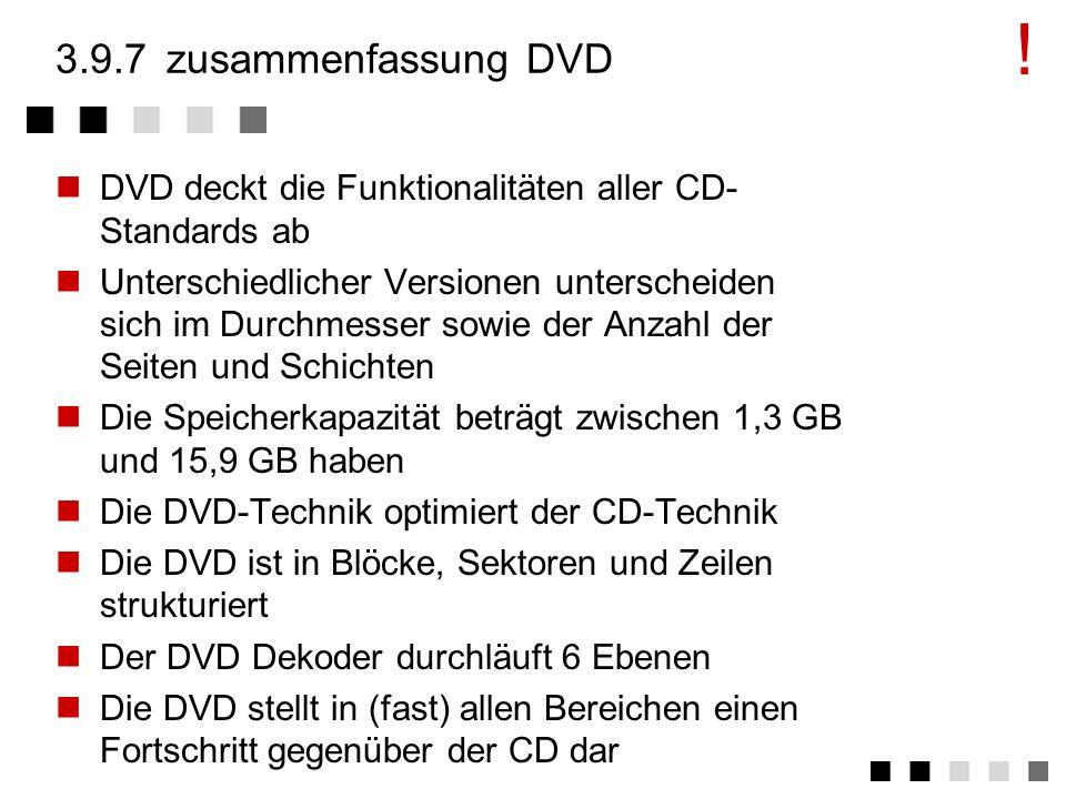 3.9.6vergleich CD DVD CDDVD Durchmesserca. 120 mm80mm / 120mm Stärkeca. 1,2 mm1,2 mm Laser-Wellenlänge780 nm (Infrarot)650/635 nm (rot) Track-Abstand1