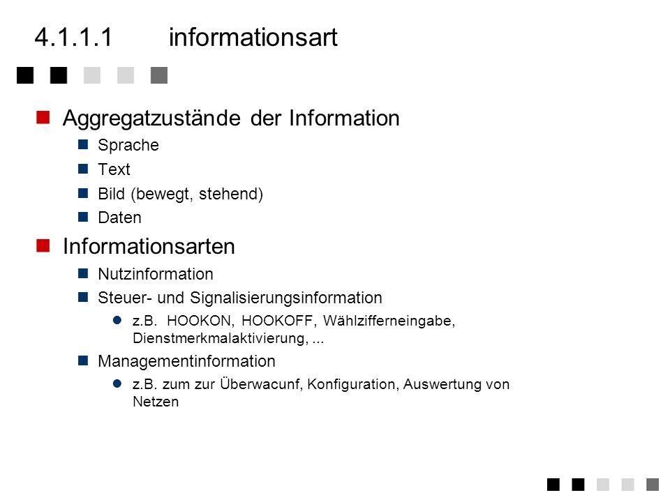4.1.1eigenschaften von diensten Informationsart Kommunikationsart Bandbreitenbedarf