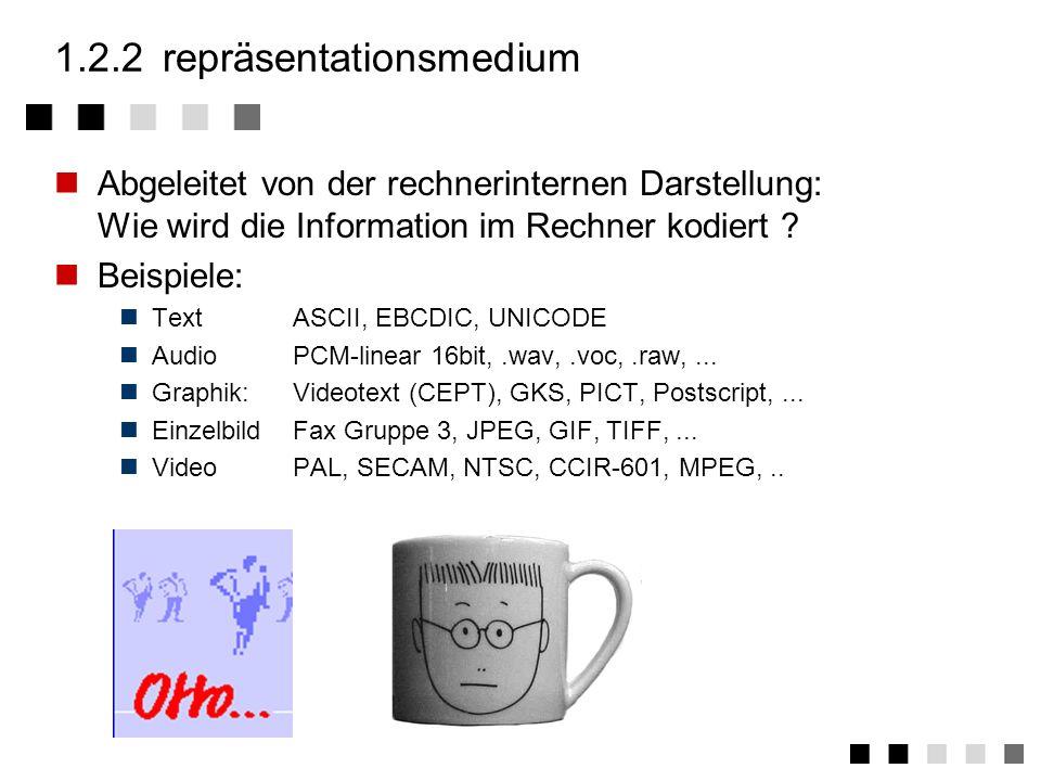 1.2.1perzeptionsmedium Abgeleitet von den menschlichen Sinnen: Wie nimmt der Mensch Informationen auf ? Hören - auditive Medien: Musik Geräusch (Sound
