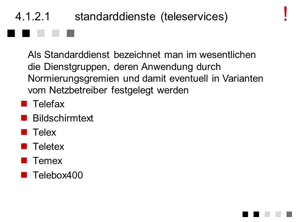 4.1.2die dienste (services) Standarddienste (Teleservices) Übermittlungsdienste (Bearer Services) Funkdienste