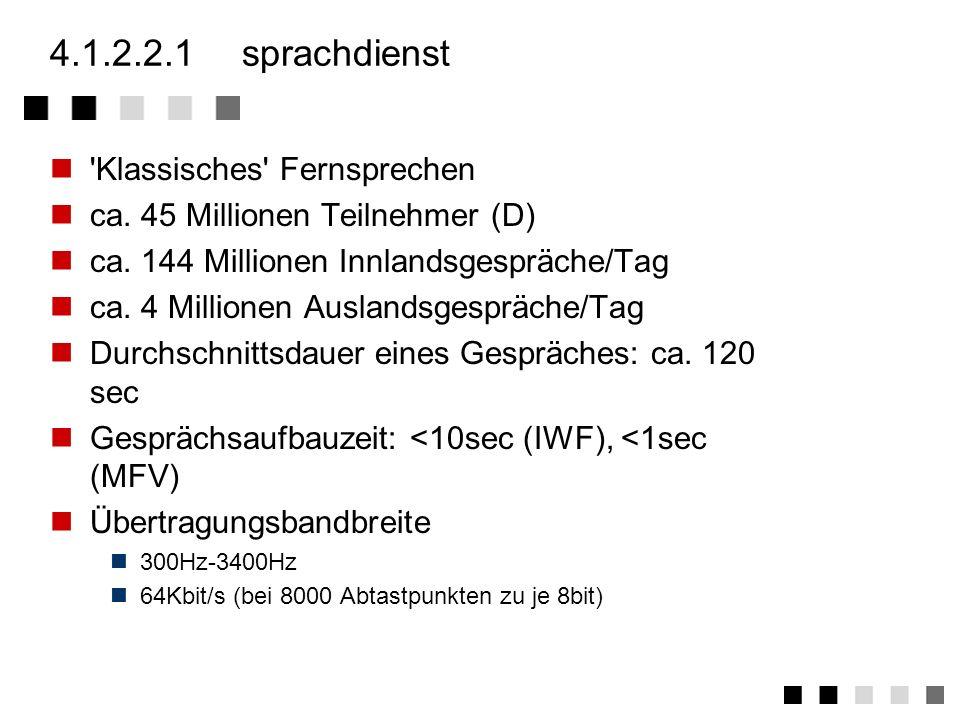 4.1.2.2übermittlungsdienste (bearer services) Sprachdienst Datendirektverbindung Datex-P Datex-L Datex-M Vermittelndes Breitbandnetz Als Datendienste