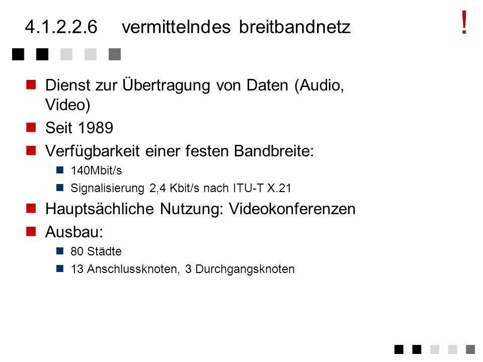 4.1.2.2.3datex-P Dienst zur verbindungslosen Übertragung von Daten Protokoll nach ITU-T X.25 Verfügbarkeit variabler Bandbreiten 300 - 64000 bit/s (zu