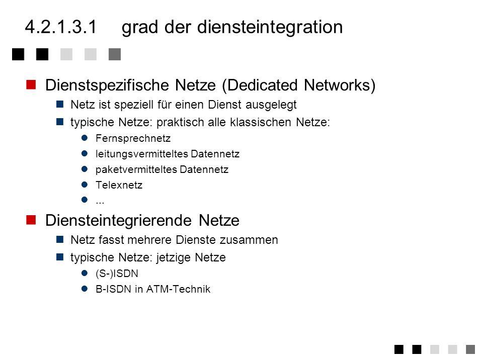 4.2.1.3eigenschaften von netzen Grad der Diensteintegration Geographische Ausdehnung Vermittlungsmethode Zugriffstechnik Mobilität der Netzkomponenten