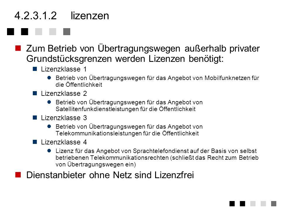 4.2.3.1.1gesetzliche grundlagen Bis 30.08.1994 Bereitstellung von Post- und Fernmeldewesen in Artikel 87f des Grundgesetzes Ab 01.08.1996 Telekommunik