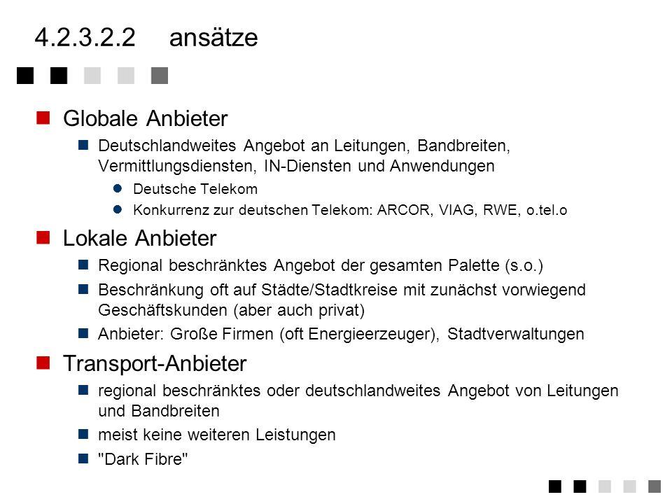 4.2.3.2.1angebote Dark-Fibre Der Betreiber bietet nur das Übertragungsmedium an (z.B. Glasfaserstrecke) Der Kunde kann beliebige Signale übertragen. D