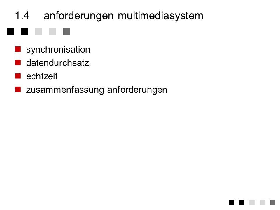 1.3.5zusammenfassung definition Ein Multimediasystem ist durch die rechnergestützte, integrierte Erzeugung, Manipulation, Darstellung, Speicherung und