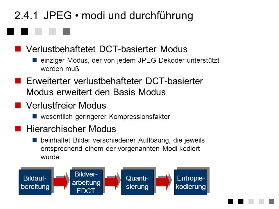 2.4.1JPEG übersicht Von der Joint Photographics Expert Group (Joint CCITT and ISO) ab 1982 entwickelt Anforderungen Unabhängigkeit von der Bild- und P