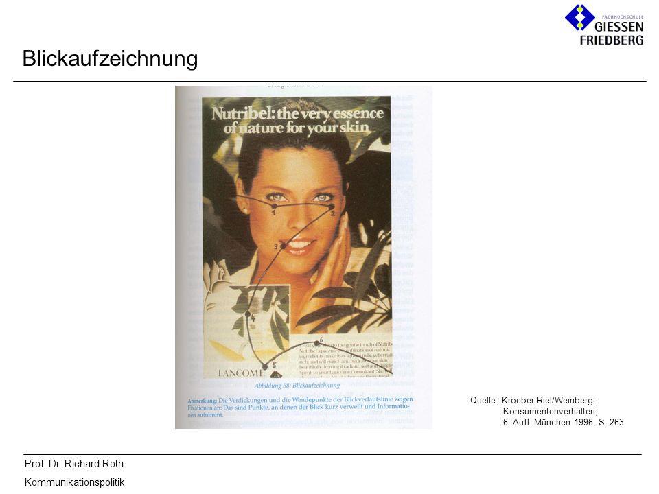 Prof. Dr. Richard Roth Kommunikationspolitik Blickaufzeichnung Quelle: Kroeber-Riel/Weinberg: Konsumentenverhalten, 6. Aufl. München 1996, S. 263