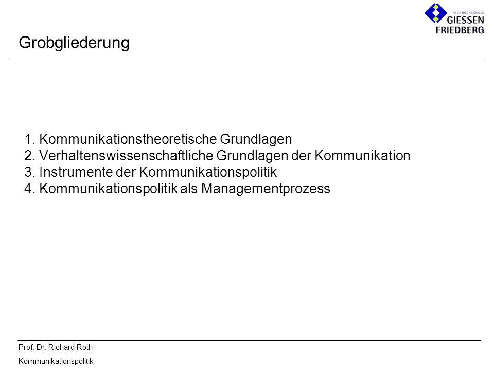 Prof. Dr. Richard Roth Kommunikationspolitik 1. Kommunikationstheoretische Grundlagen 2. Verhaltenswissenschaftliche Grundlagen der Kommunikation 3. I