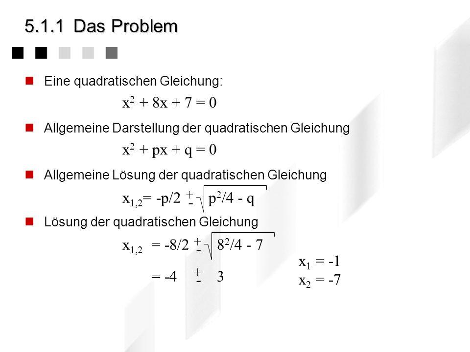 5.1.1Das Problem Eine quadratischen Gleichung: Allgemeine Darstellung der quadratischen Gleichung Allgemeine Lösung der quadratischen Gleichung Lösung der quadratischen Gleichung x 2 + 8x + 7 = 0 x 2 + px + q = 0 x 1,2 = -p/2 p 2 /4 - q + - x 1,2 = -8/2 8 2 /4 - 7 = -4 3 + - + - x 1 = -1 x 2 = -7