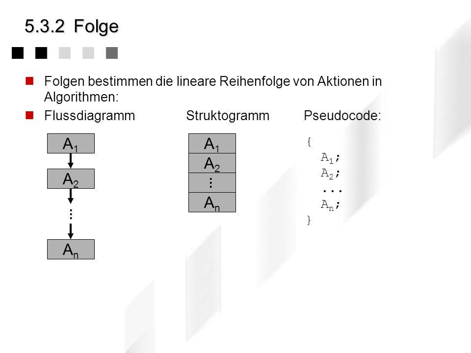 5.3.1Die Elemente: Kontrollelemente Die atomaren Elemente eines Algorithmuses können durch drei einfache Strukturierungsmethoden, den Kontrollelemente