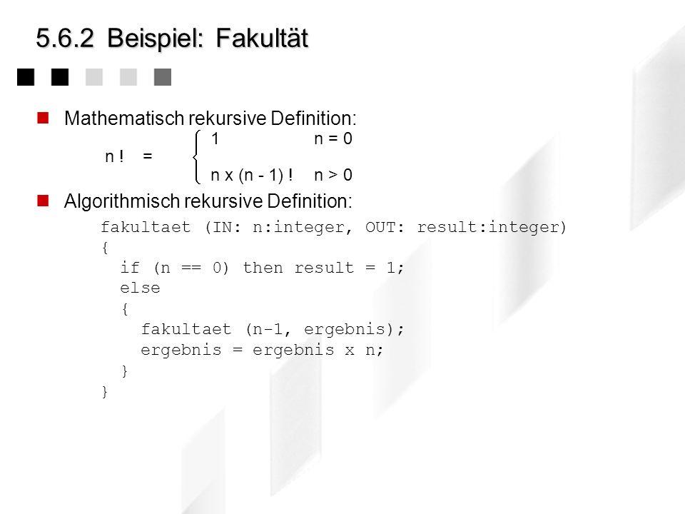 5.6.2Beispiel: Hilbert-Kurven D.Hilbert: Über stetige Abbildungen einer Linie auf ein Flächenstück, Math. Annalen, 1891: Hilbert (IN: s,t,v : integer)
