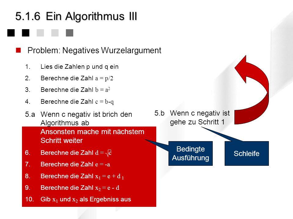 1.Lies die Zahlen p und q ein 2.Berechne die Zahl a = p/2 3.Berechne die Zahl b = a 2 4.Berechne die Zahl c = b-q 5.aWenn c negativ ist brich den Algorithmus ab Ansonsten mache mit nächstem Schritt weiter 6.Berechne die Zahl d = c 7.Berechne die Zahl e = -a 8.Berechne die Zahl x 1 = e + d 1 9.Berechne die Zahl x 2 = e - d 10.