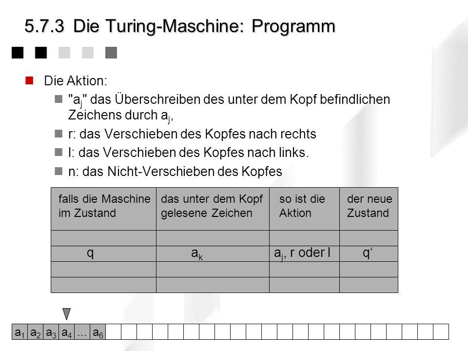 5.7.3Die Turing-Maschine: Definition Als abstraktes Modell eines Computers beschrieb Alan Turing (1912- 1954) 1963 - also noch vor der Erfindung des D