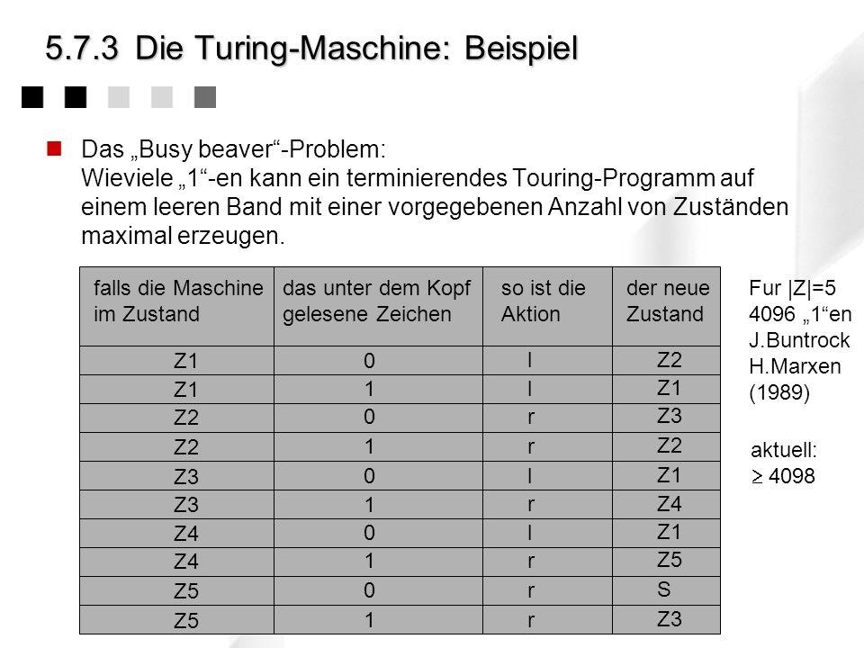5.7.3Die Turing-Maschine: Programm Die Aktion: