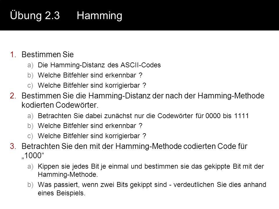Übung 2.3Hamming 1.Bestimmen Sie a)Die Hamming-Distanz des ASCII-Codes b)Welche Bitfehler sind erkennbar ? c)Welche Bitfehler sind korrigierbar ? 2.Be