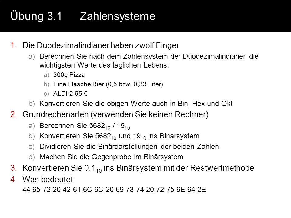 Übung 3.1Zahlensysteme 1.Die Duodezimalindianer haben zwölf Finger a)Berechnen Sie nach dem Zahlensystem der Duodezimalindianer die wichtigsten Werte
