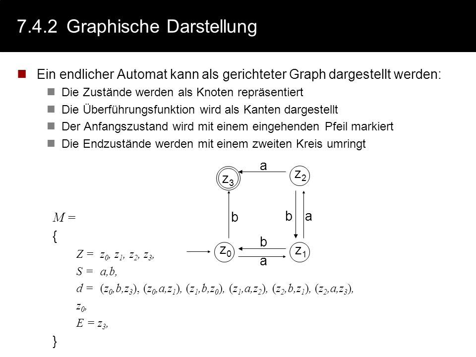 7.4.2Graphische Darstellung Ein endlicher Automat kann als gerichteter Graph dargestellt werden: Die Zustände werden als Knoten repräsentiert Die Über