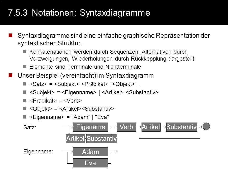 7.5.3Notationen: Syntaxdiagramme Syntaxdiagramme sind eine einfache graphische Repräsentation der syntaktischen Struktur: Konkatenationen werden durch