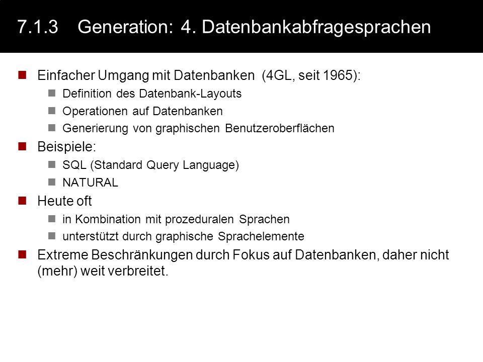 7.5.3Notationen: BNF / EBNF Die BNF (John Backus, Peter Naur, 1960) ist die Grundform und entspricht der Definition eventuell erweitert um den alternativ-Operator (|) siehe Beispiele Die EBNF erweitert die BNF um 3 (2) Operatoren den Alternativ Operator: | den Wiederholungs-Operator: { … } Notiert auf der rechten Seite einer Regel, drückt er aus, dass der geklammerter Ausdruck beliebig oft wiederholt werden kann - einschließlich kein mal.