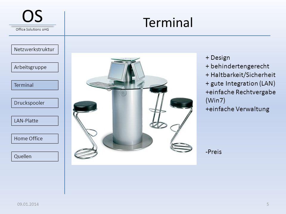 Terminal Netzwerkstruktur Druckspooler Arbeitsgruppe Home Office Terminal LAN-Platte Quellen 09.01.20145 OS Office Solutions oHG + Design + behinderte