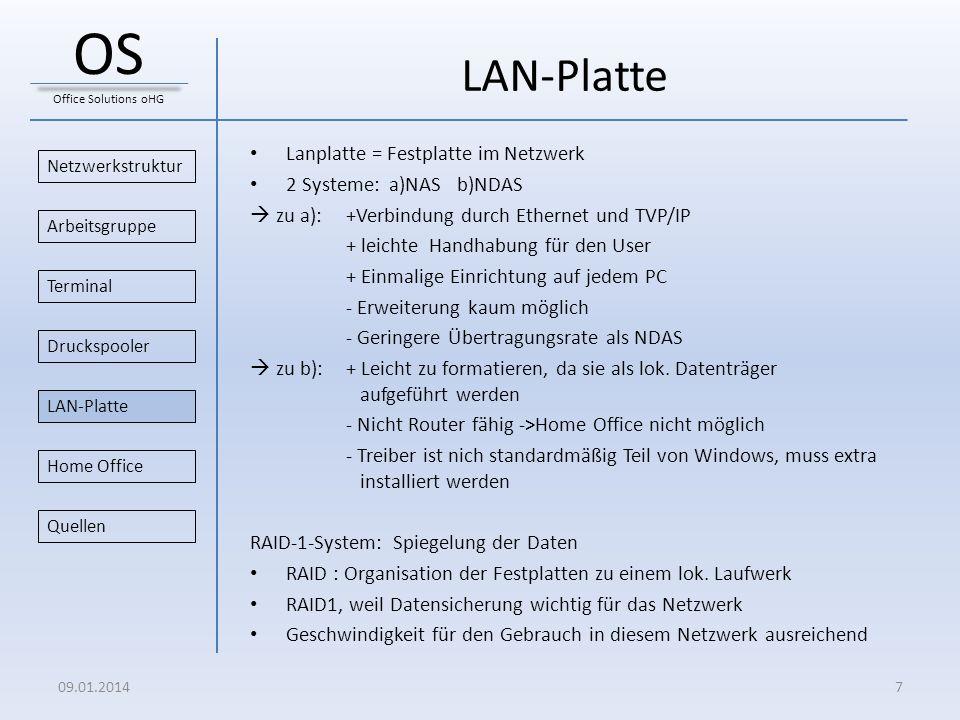 LAN-Platte Lanplatte = Festplatte im Netzwerk 2 Systeme: a)NAS b)NDAS zu a): +Verbindung durch Ethernet und TVP/IP + leichte Handhabung für den User +
