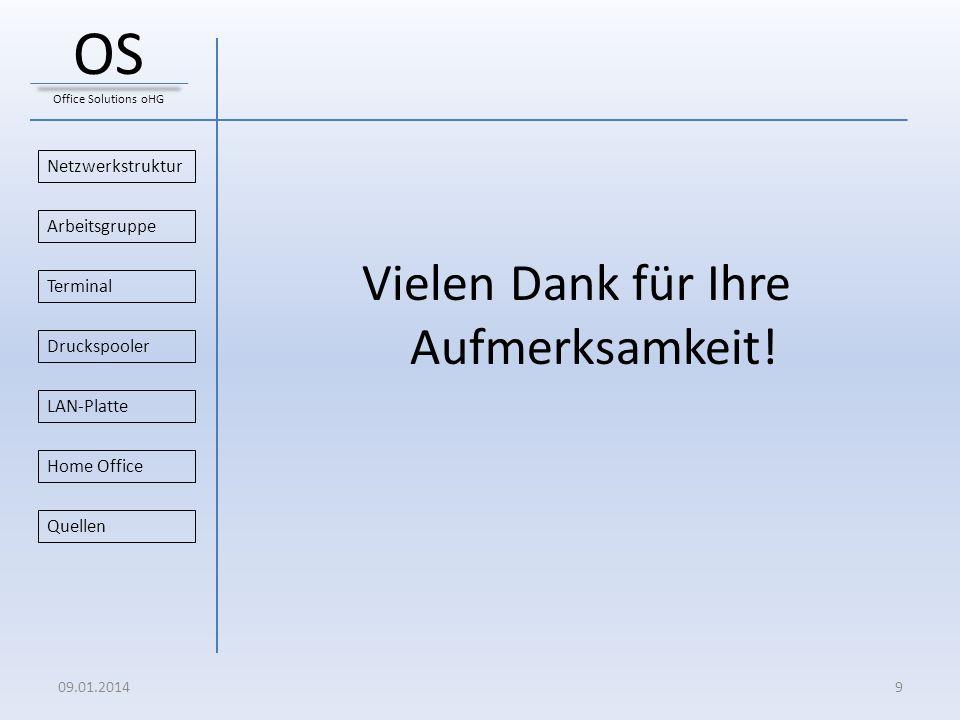 Vielen Dank für Ihre Aufmerksamkeit! Netzwerkstruktur Druckspooler Arbeitsgruppe Home Office Terminal LAN-Platte Quellen 09.01.20149 OS Office Solutio