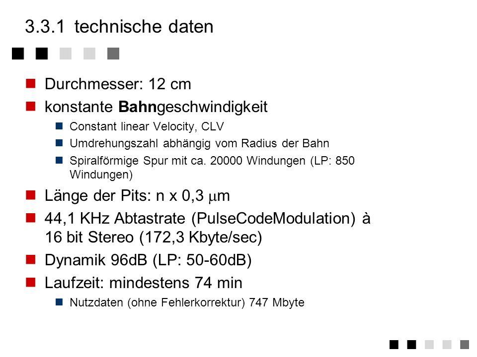 3.3CD-DA technische daten physikalische grenzen fehlerkorrektur frames aufbau einer CD zusammenfassung CD-DA