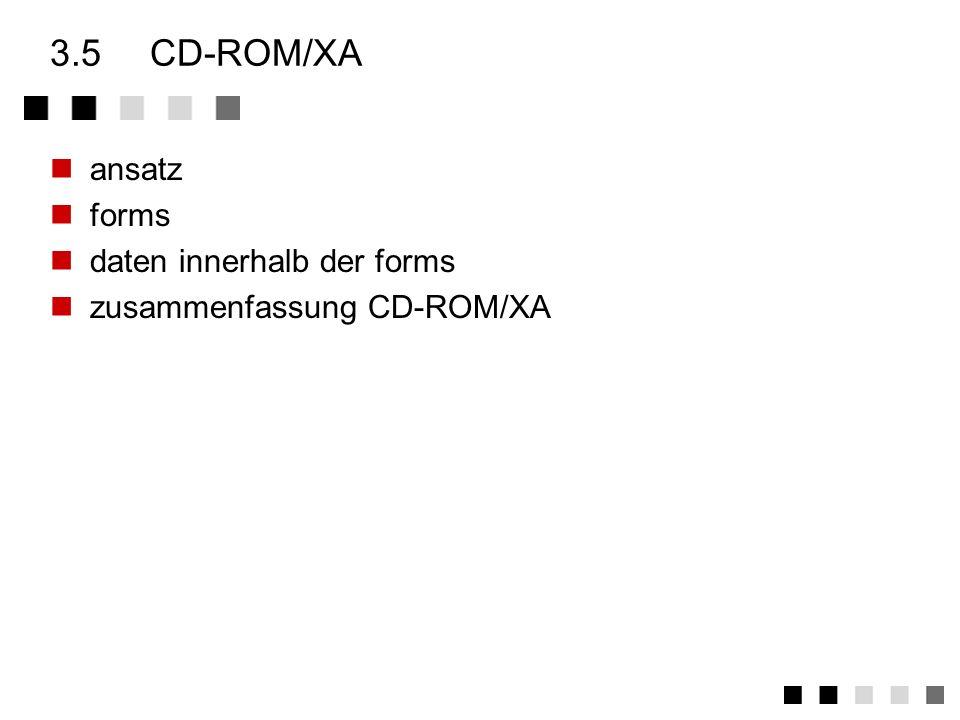 3.4.5zusammenfassung CD-ROM Die CD-ROM soll wahlfrei und fehlerunanfällig multimediale Daten zugänglich machen Neben Audio -Blöcken gibt es Modi für R