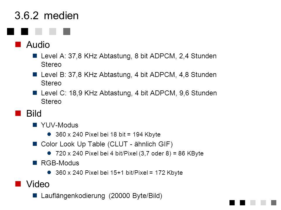 3.6.1ansatz CD-I soll(te) multimediale Anwendungen in der Unterhaltungselektronik verfügbar machen CD-I ist nicht nur ein Speichermedium sondern ein S
